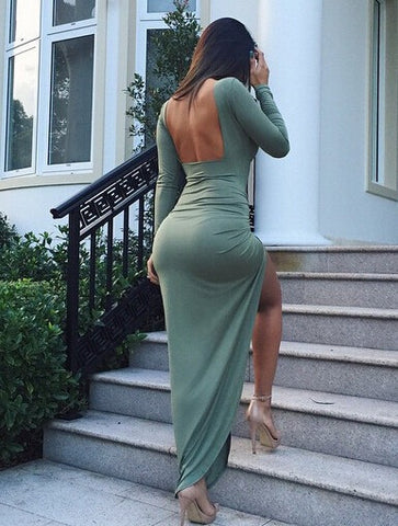SEXY BACKLESS IRREGULAR LONG SLEEVE DRESS