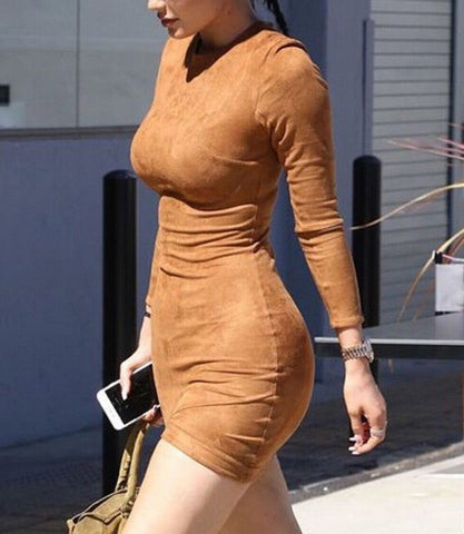 HOT BROWN SEXY ASYMMETRY LONG SLEEVE DRESS HIGH QUALITY