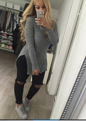 HOT HIGH COLLAR FORK SWEATER
