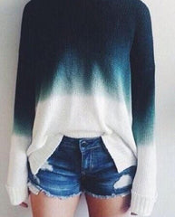 ROUND COLLAR LOOSE SOFT GRADIENT SWEATER