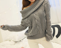 FASHION OFF SHOULDER LONG SLEEVE SWEATER HIGH QUALITY