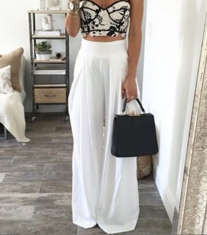 WOMEN'S FASHION LOOSE SOLID COLOR SKIRTS WIDE LEG PANTS WIDE LEG PANTS