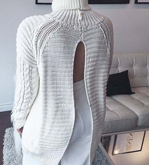 FASHION CUTE GREY SEXY DESIGN SWEATER DRESS LONG ENOUGH