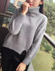 FASHION PURE COLOR SLIT SWEATER