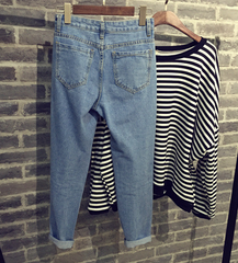 Cotton pencil pants casual denim pantyhose