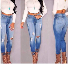 Women's jeans female HIGH waist hole JEANS HIGH QUALITY NOT THE POOR