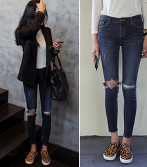 Knee hole jeans thin pencil pants