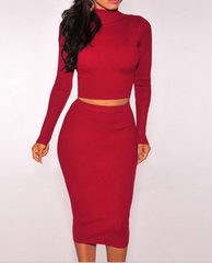 High-necked long-sleeved Luyao Slim package hip mini skirt two-piece dress high quality
