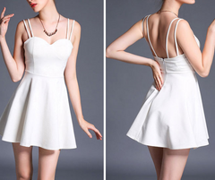 FASHION STRAPS BACKLESS DRESS