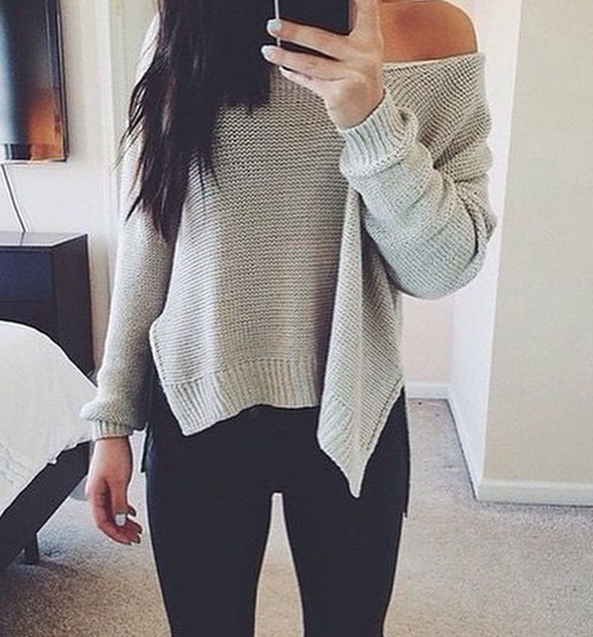 The new sexy strapless sweater hedging long-sleeved sweater irregular hem