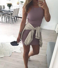 CUTE PURPLE CUTE SKIRT DRESS