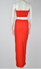 FASHION RED TWO PIECE DRESS