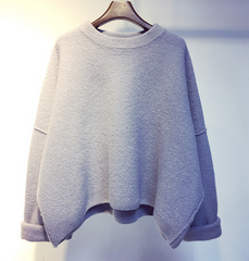 Thick double-sided bat sleeve cashmere sweaterversion of a short section of loose pullover female coat