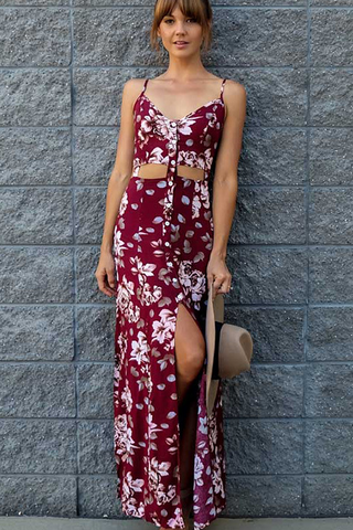 FASHION RED FLORAL ONE PIECE DRESS