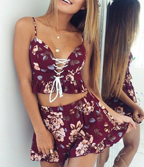 FASHION CUTE RED FLORAL ROMPER TWO PIECE SUIT