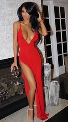 FASHION CUTE RED STRAPS LONG DRESS SLIT DRESS