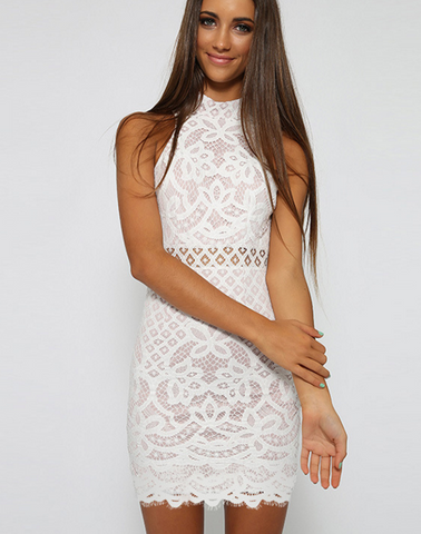 FASHION HIGH COLLAR LACE DRESS