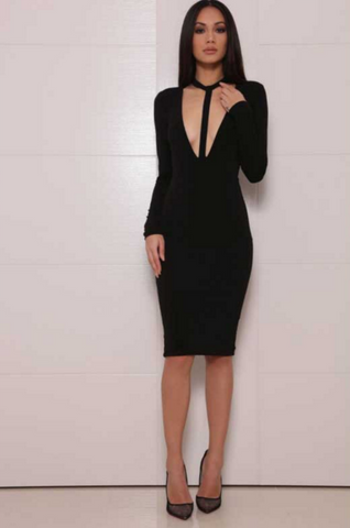 FASHION BLACK WHITE SHOW BODY DRESS