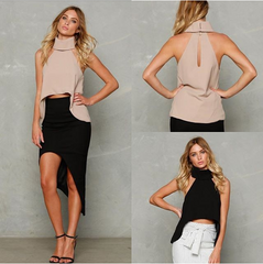 Cultivate one's morality vest high-necked sleeveless jacket that show hilum