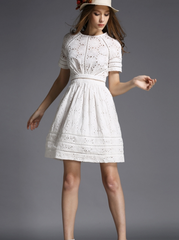 FASHION WHITE CUTE LACE DRESS