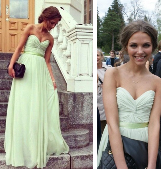 HOT GREEN STRAPLESS LONG DRESS
