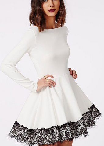 HOT PURE WHITE LONG SLEEVE DRESS