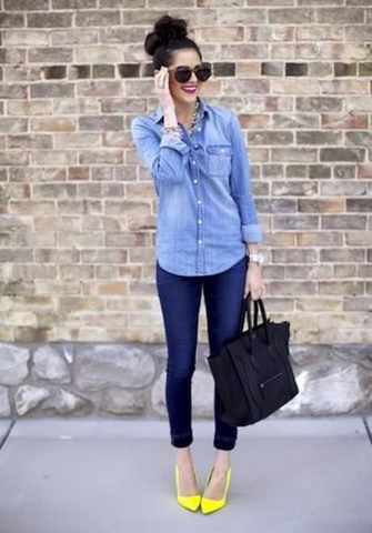 FASHION BLUE SHIRT LONG SLEEVE POCKET TOP