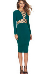 Long-sleeved sexy nightclub dress strap piece