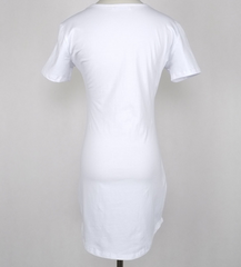 CUTE WHITE SHORT SLEEVE IRREGULAR DRESS