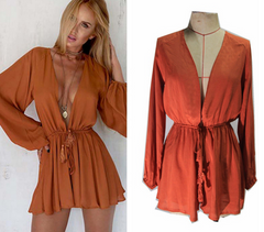 FASHION CUTE V NECK LONG SLEEVE ROMPER