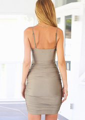 Sexy deep V harness backless dress