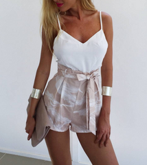 White halter bralet fresh shorts two piece set printing belt
