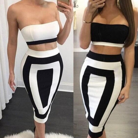 CUTE BLACK WHITE TWO PIECE DRESS