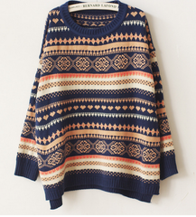 CUTE ROUND COLLAR TOTEM SWEATER