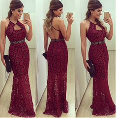 CUTE RED LACE LONG DRESS
