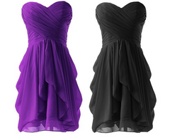 FASHION CUTE STRAPLESS CHIFFON DRESS