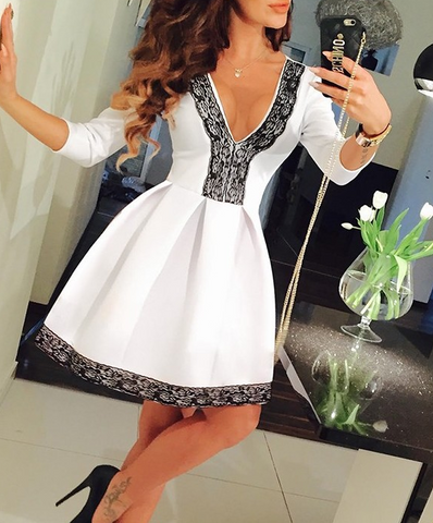 FASHION V COLLAR LACE DRESS
