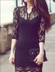 Cute lace show body half sleeve dress