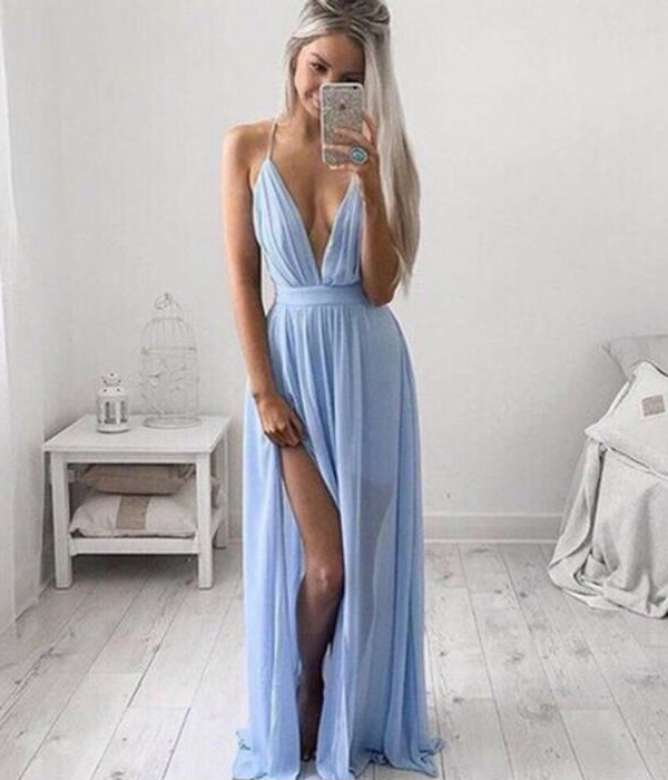CUTE BLUE CHIFFON HOT DRESS