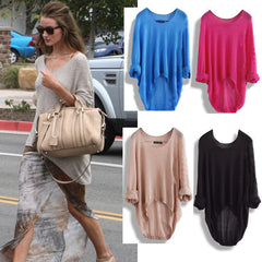 BATWING WOMENS LADIES CASUAL LOOSE ASYMMETRIC KNIT COAT TOP SWEATER