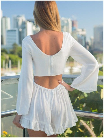 98223e08ad48 ... LOW-CUT LONG-SLEEVED SEXY BACKLESS SHOW THIN DESIGN OF TALL WAIST  WOMEN S CASUAL ...