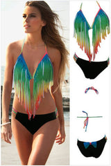 IRREGULAR TASSEL BIKINI TWO-PIECE GRADUALLY