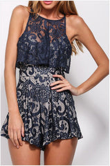 ROUND COLLAR SLEEVELESS RUFFLED LACE JUMPSUIT