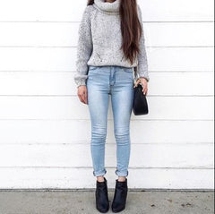 Fashion high collar short sweater short style