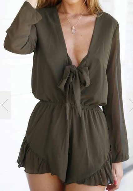HOT DARK GREEN ROMPER JUMPSUIT