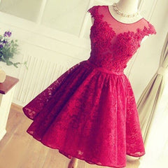 FASHION RED HANDMADE LACE SHINING RHINESTONE PROM PARTY DRESS