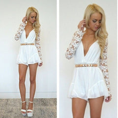 ON SALE SEXY LONG SLEEVE LACE STITCHING CHIFFON CONJOINED SHORTS