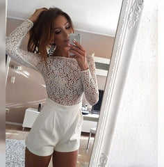 HOT CUTE LACE LONG SLEEVE ROMPER