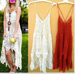 HOLLOW OUT LACE LONG AND SHORT DRESS