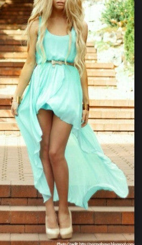 ON SALE IRREGULAR MINT COLOR DRESS